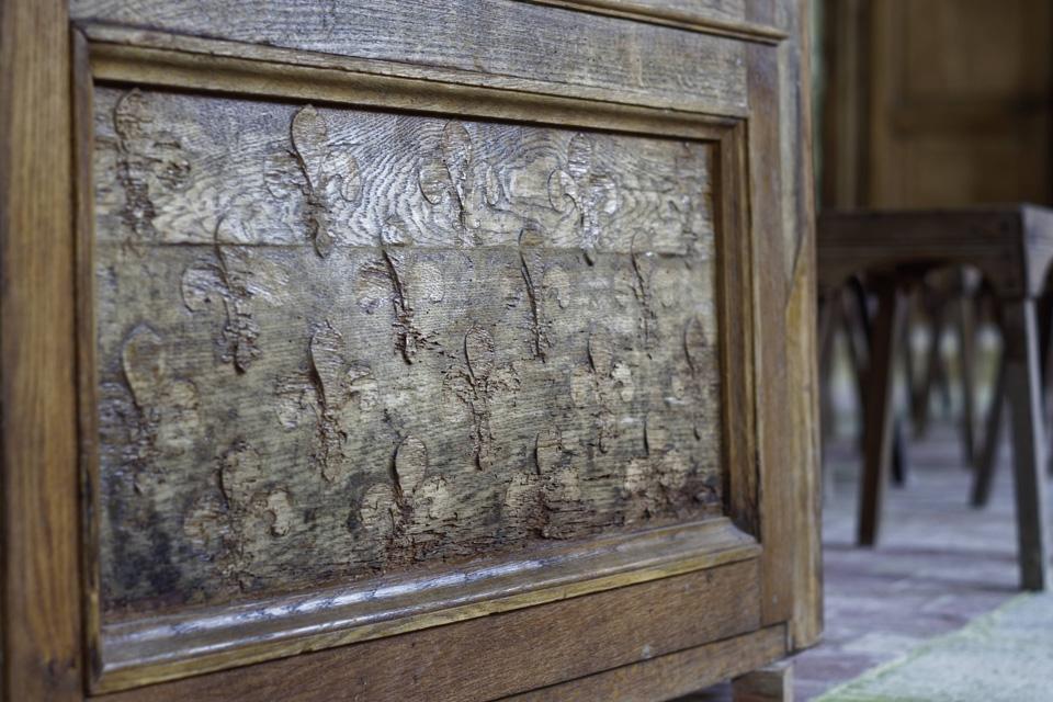 Gros plan sur les Fleurs de Lys sculpté dans la porte du Jubé