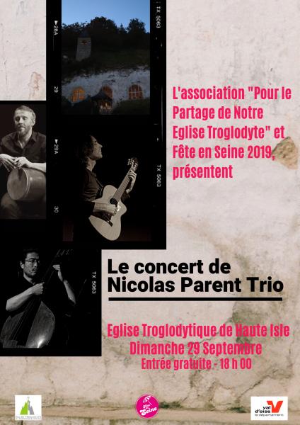 Annonce Concert Nicolas Parent Trio à Haute Isle le 29 Septembre 2019 - 18 heures
